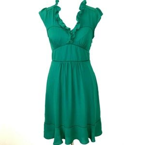 Anthropologie Maeve 4 Womens Della Dress Green